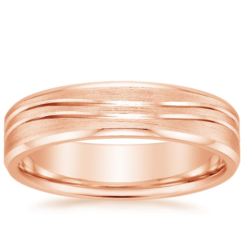 14K Rose Gold Equinox Ring with Beveled Edges, top view