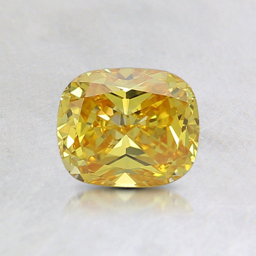 0.6 Ct. Fancy Vivid Yellow Cushion Lab Created Diamond