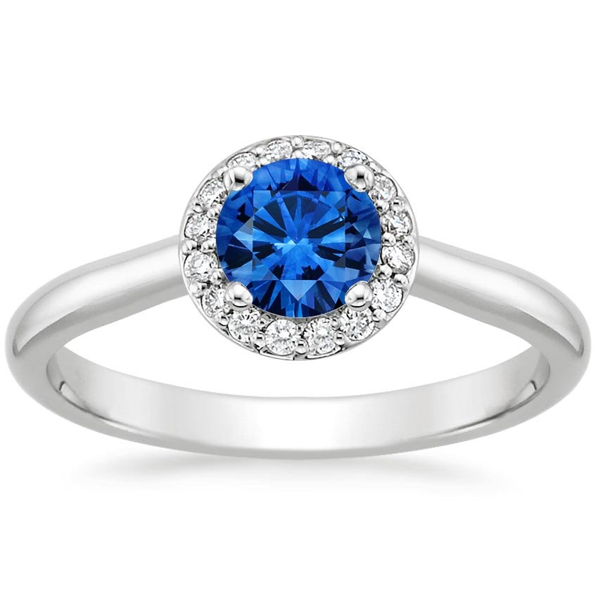 Platinum Sapphire Halo Diamond Ring, top view