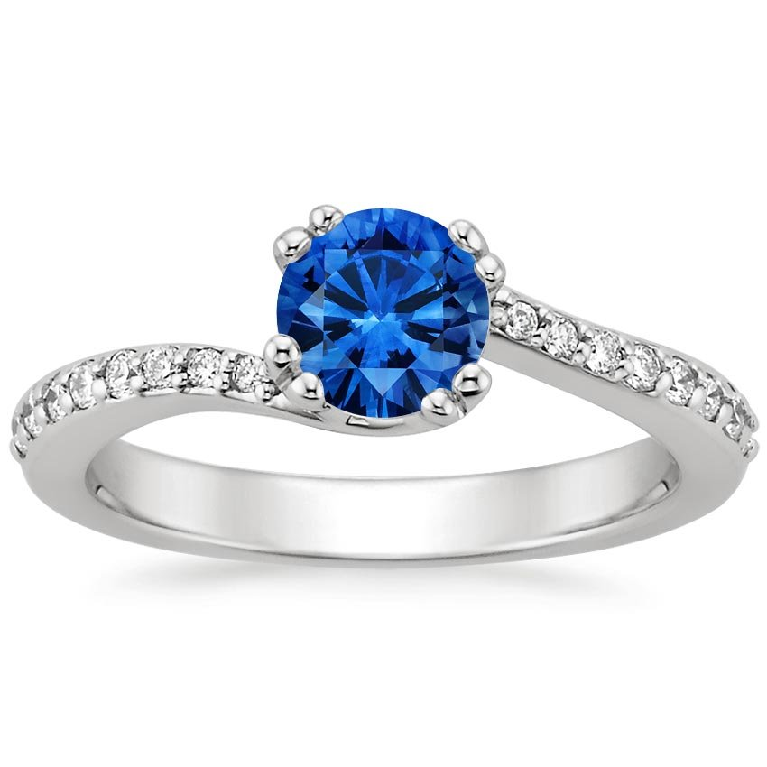 18K White Gold Sapphire Seacrest Ring with Diamond Accents, top view