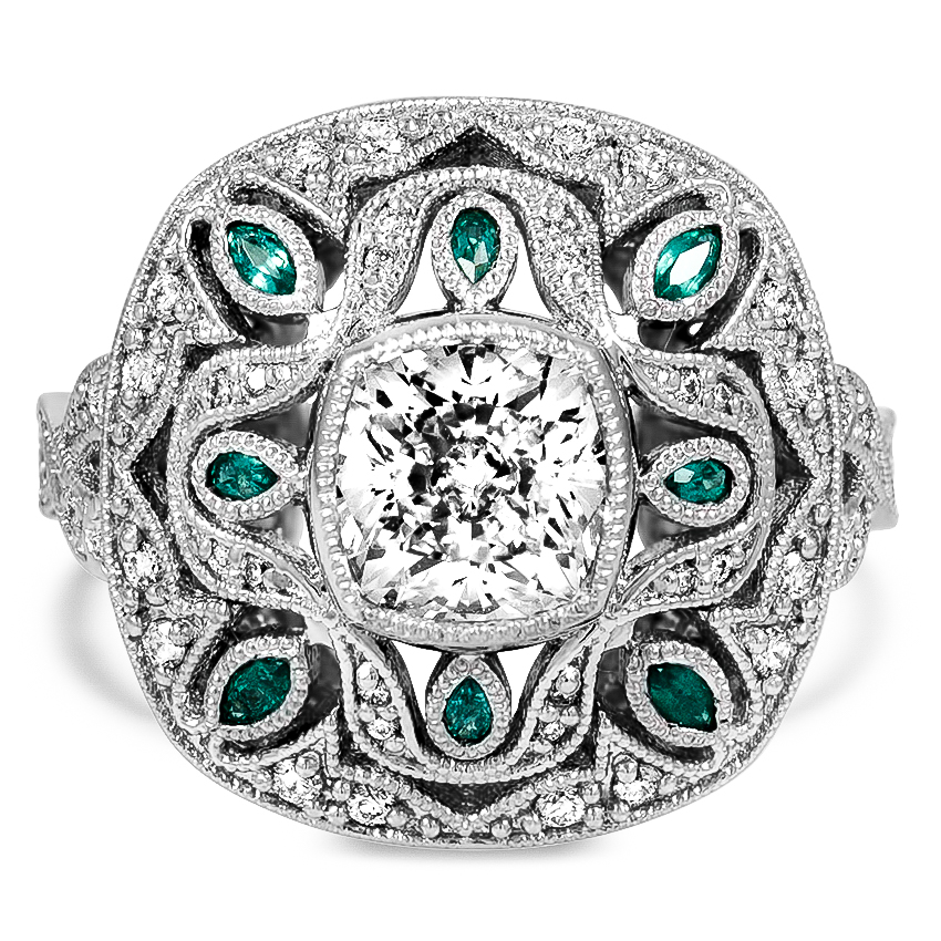 Custom Vintage-Inspired Diamond and Emerald Ring