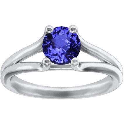 Sapphire Unity Ring in 18K White Gold with 6mm Round Blue Sapphire
