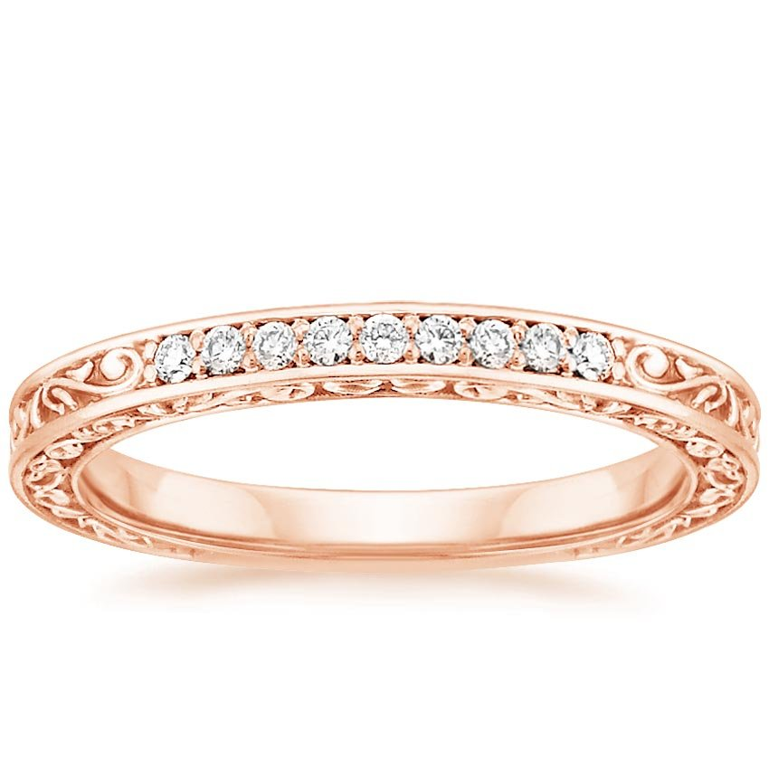 14K Rose Gold Delicate Antique Scroll Ring (1/10 ct. tw.), top view