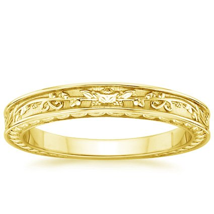 18K Yellow Gold Jardinière Wedding Ring, top view