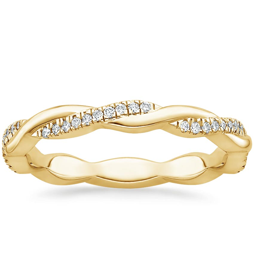 Yellow Gold Petite Twisted Vine Eternity Diamond Ring (1/5 ct. tw.)