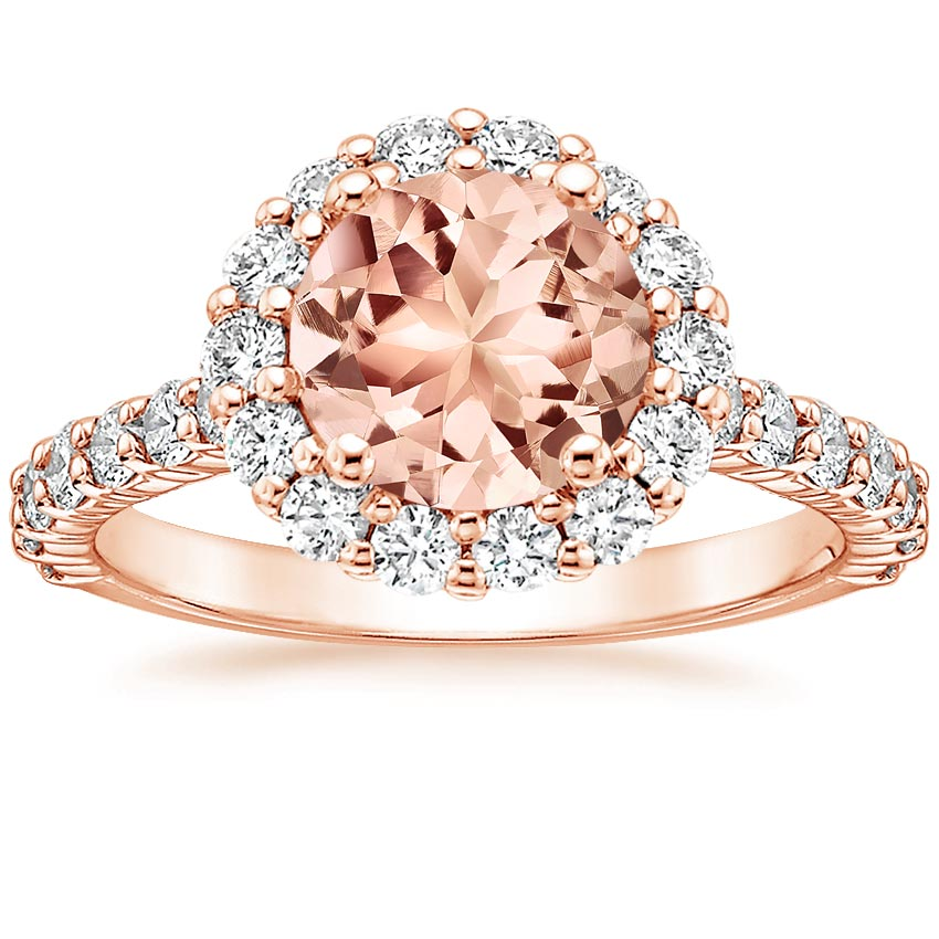 Morganite Lotus Flower Ring with Side Stones in 14K Rose Gold