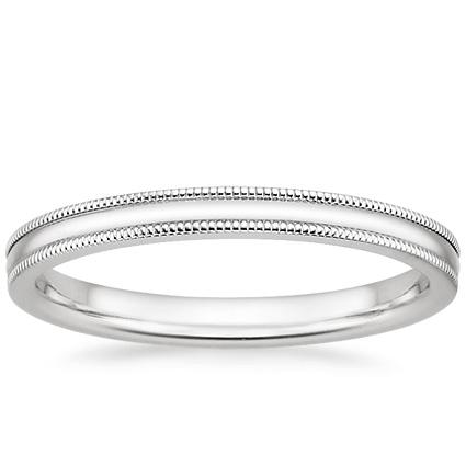 2mm Milgrain Wedding Ring In 18K White Gold