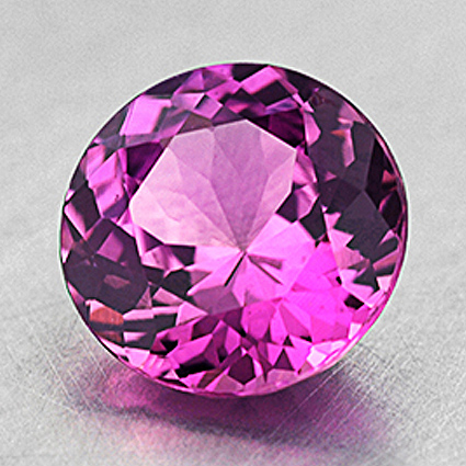 7mm Unheated Pink Round Sapphire, top view