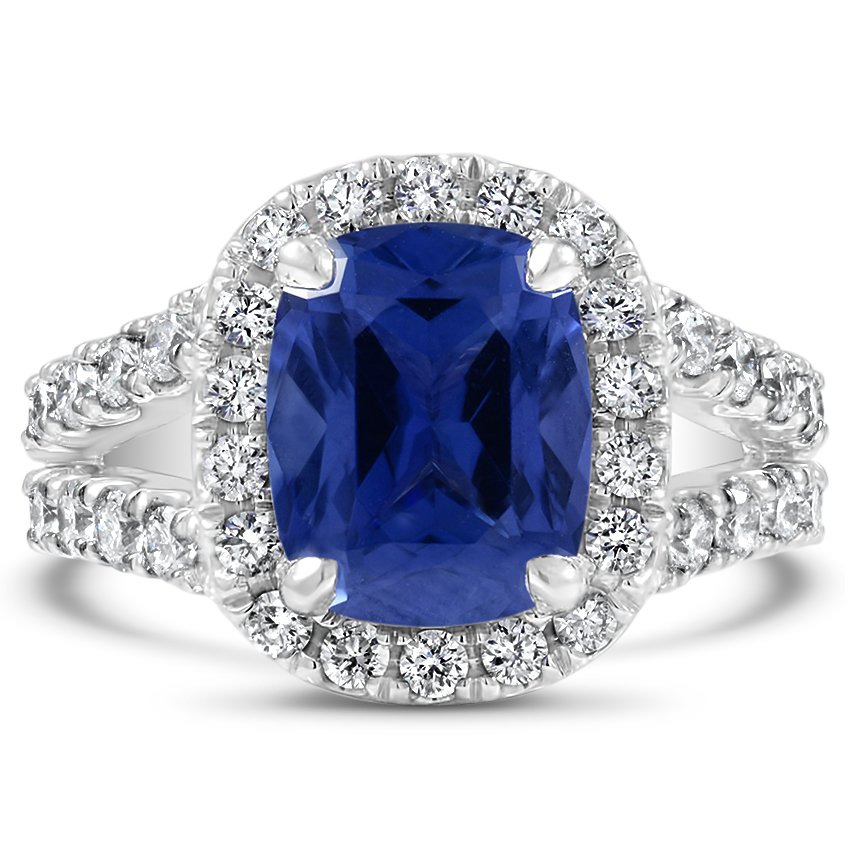 Custom Luxe Halo Sapphire and Diamond Ring