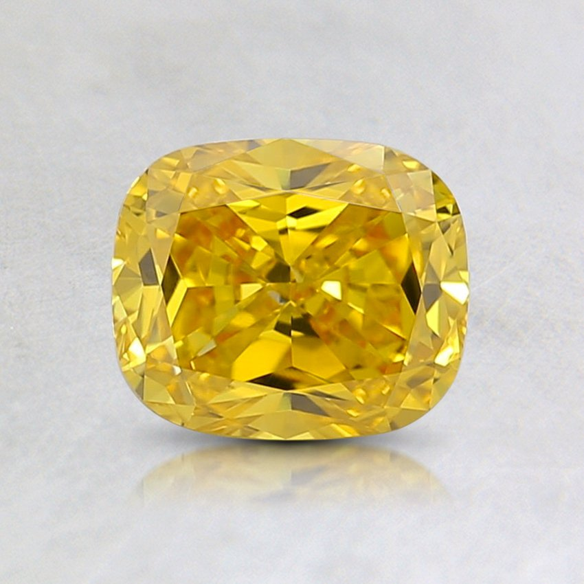 0.84 Ct. Fancy Vivid Orange-Yellow Cushion Lab Created Diamond