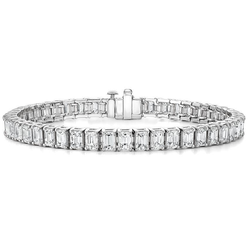 Platinum Emerald Cut Diamond Tennis Bracelet 12 Ct Tw