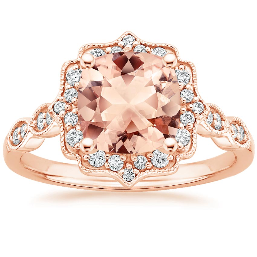 Rose Gold Morganite Cadenza Halo Diamond Ring