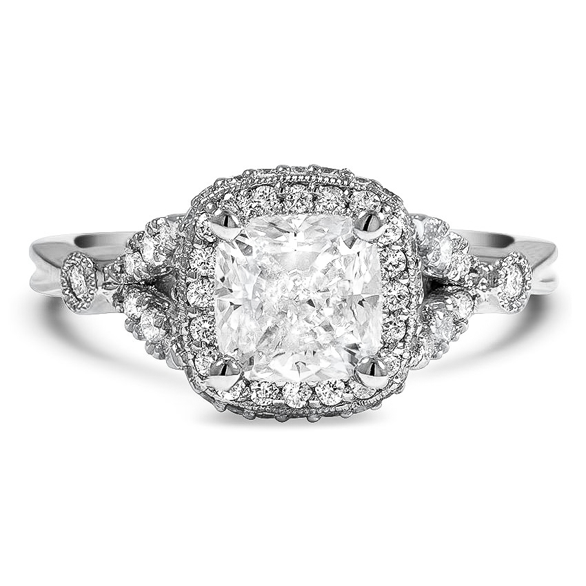 Custom Vintage Halo and Micro-Pavé Diamond Ring