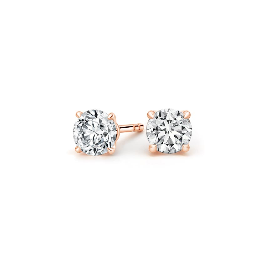 14K Rose Gold Elodie Diamond Stud Earrings, top view