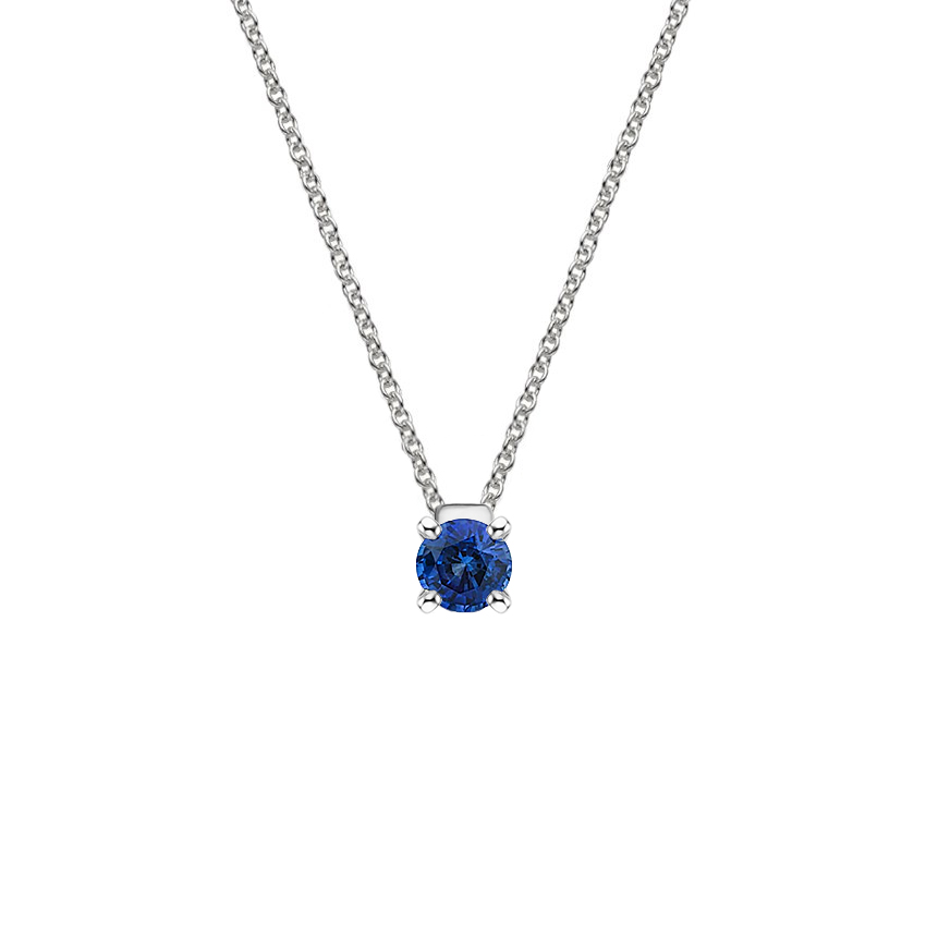 Floating Solitaire Sapphire Pendant