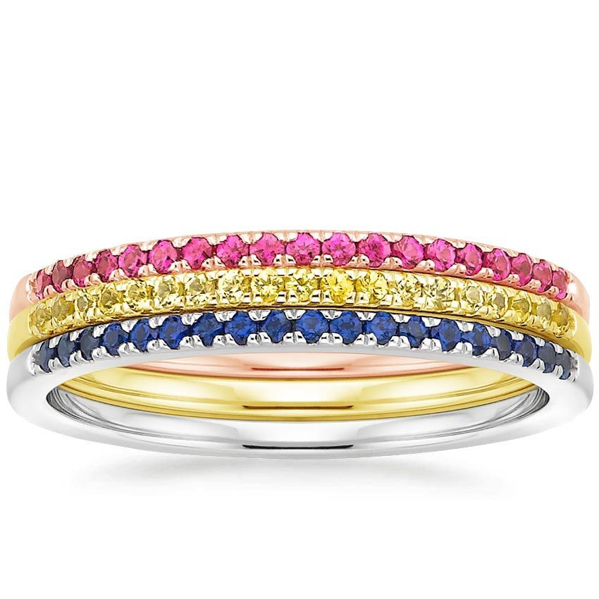 a302e11a140ca 14K Rose Gold Whisper Stack with Lab Created Sapphires