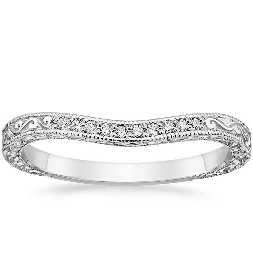 Three Stone Hudson Contoured Diamond Ring in Platinum
