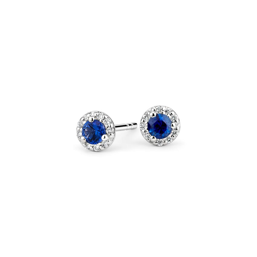 Petite Sapphire Halo Diamond Earrings in 18K White Gold