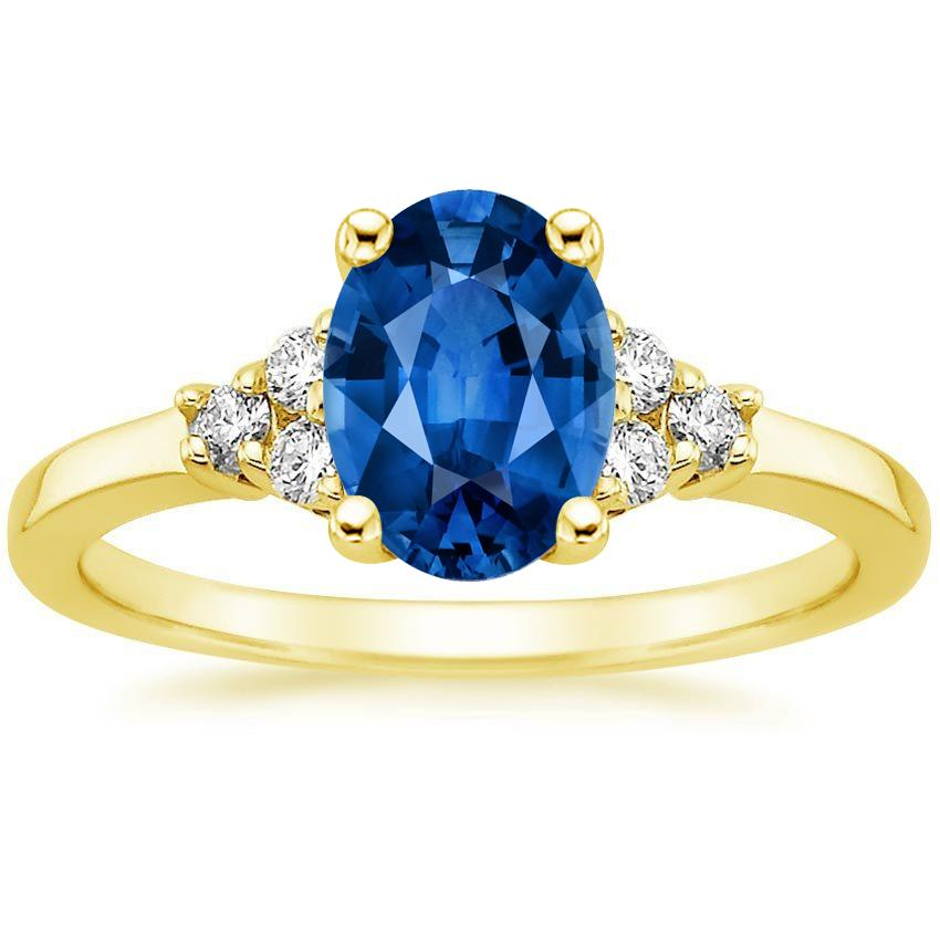 Sapphire Trio Diamond Ring in 18K Yellow Gold with 8x6mm Oval Blue Sapphire