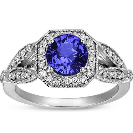 Sapphire Luxe Victorian Split Shank Halo Ring in 18K White Gold with 6mm Round Blue Sapphire