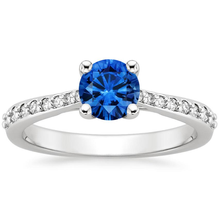 Sapphire Geneva Ring in 18K White Gold with 5.5mm Round Blue Sapphire