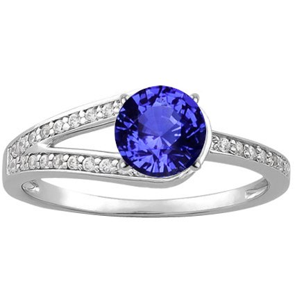 18K White Gold Sapphire Oceana Ring, top view