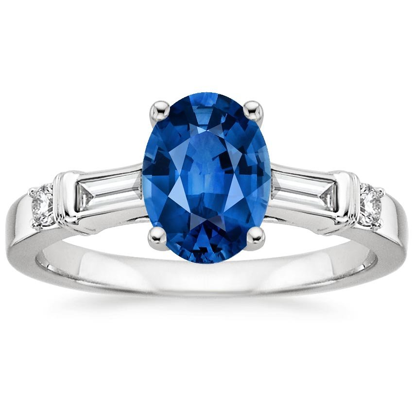18K White Gold Sapphire Rialto Diamond Ring, top view