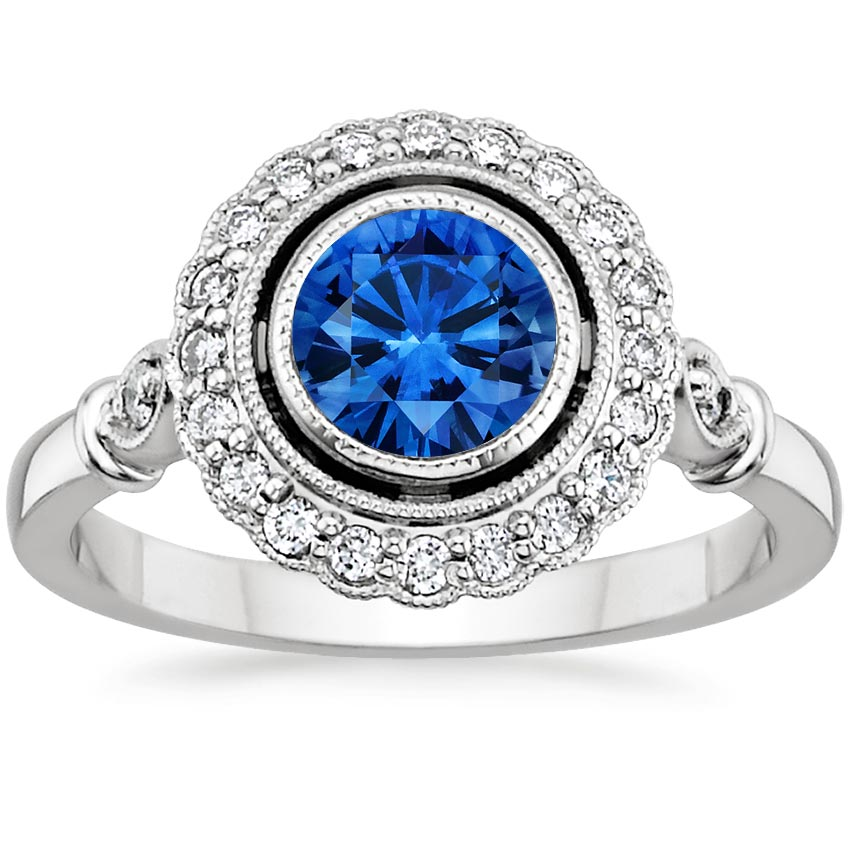 18K White Gold Sapphire Bella Diamond Ring, top view