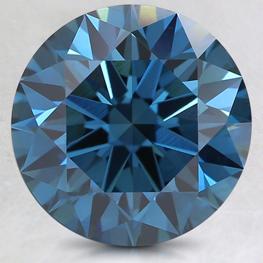 3.03 Ct. Fancy Dark Greenish Blue Round Lab Created Diamond