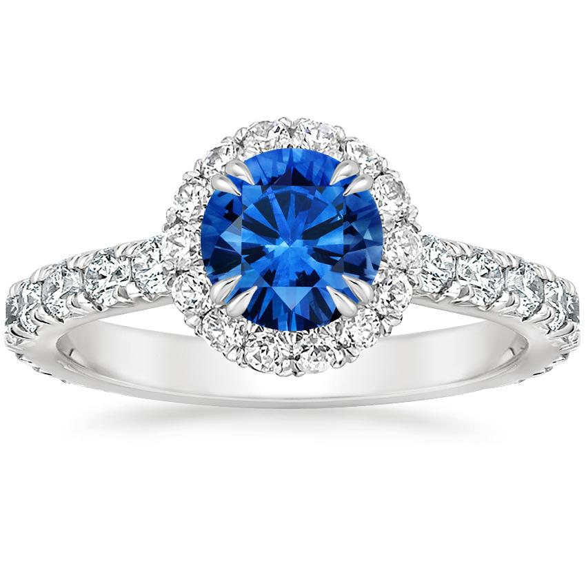 18K White Gold Sapphire Luxe Sienna Halo Diamond Ring, top view