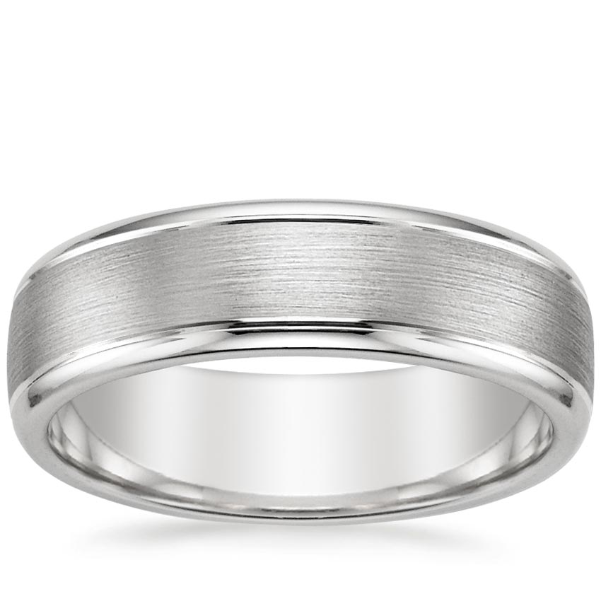 18K White Gold Beveled Edge Matte Wedding Ring with Grooves, top view