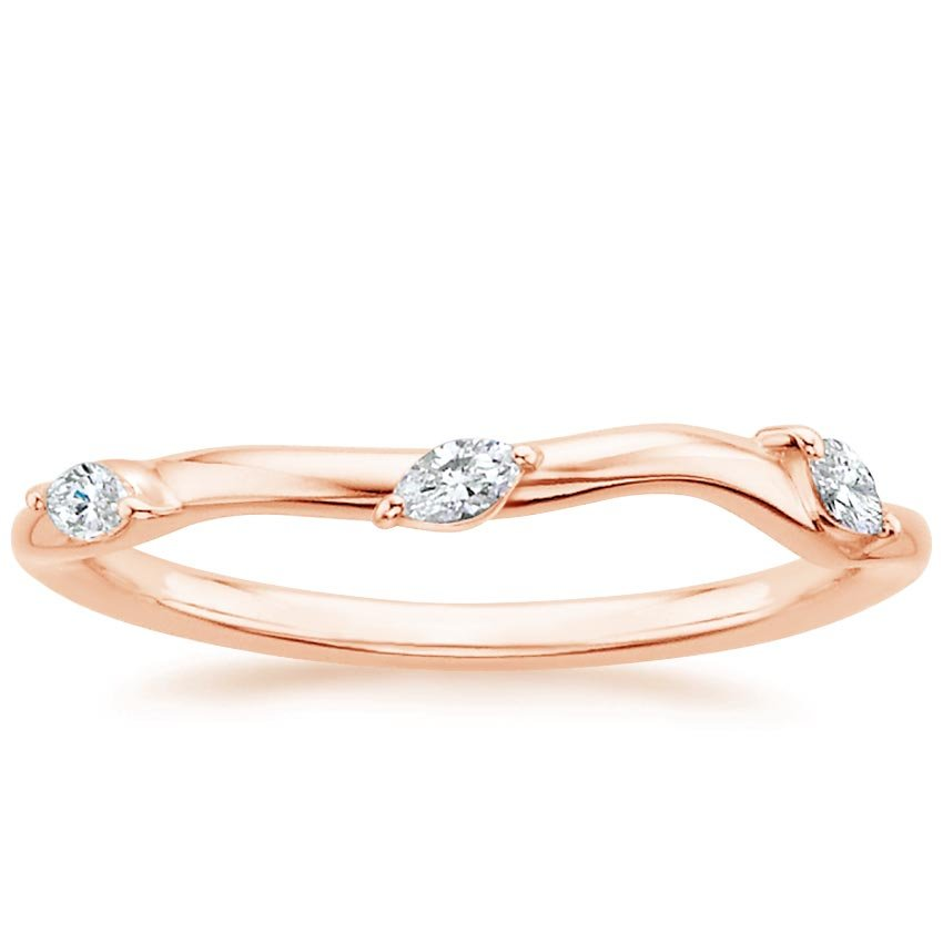 14K Rose Gold Willow Contoured Diamond Ring (1/10 ct. tw.), top view