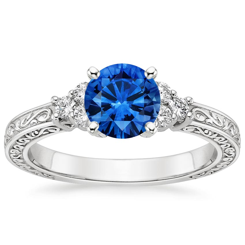 Platinum Sapphire Adorned Trio Diamond Ring, top view