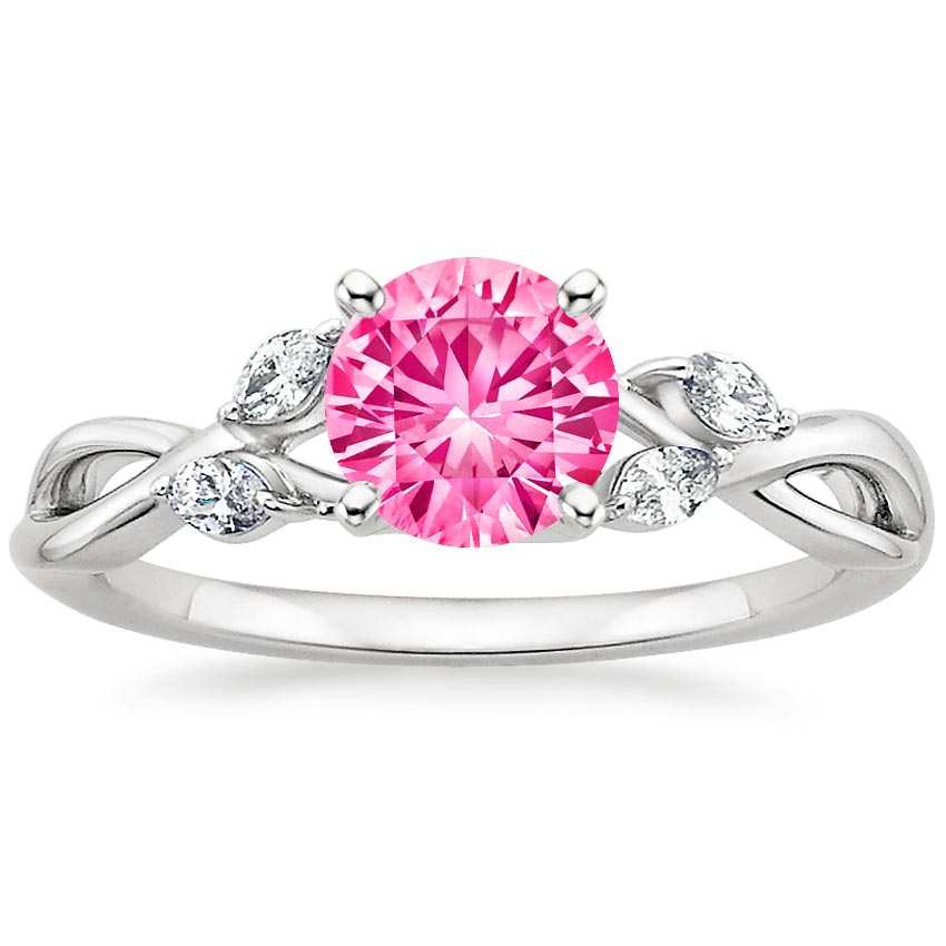 Sapphire Willow Diamond Ring in 18K White Gold with 6mm Round Pink Sapphire