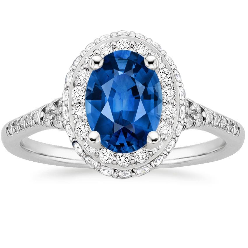 Sapphire Circa Diamond Ring (1/2 ct. tw.) in 18K White Gold with 8x6mm Oval Blue Sapphire