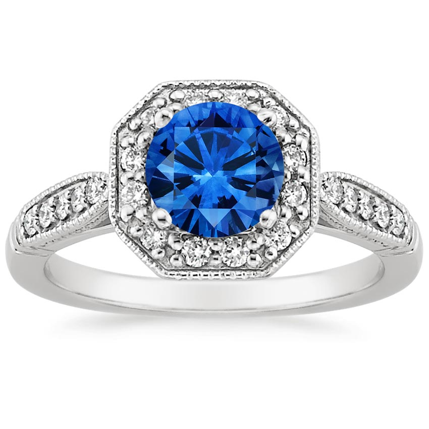 Platinum Sapphire Victorian Halo Diamond Ring, top view