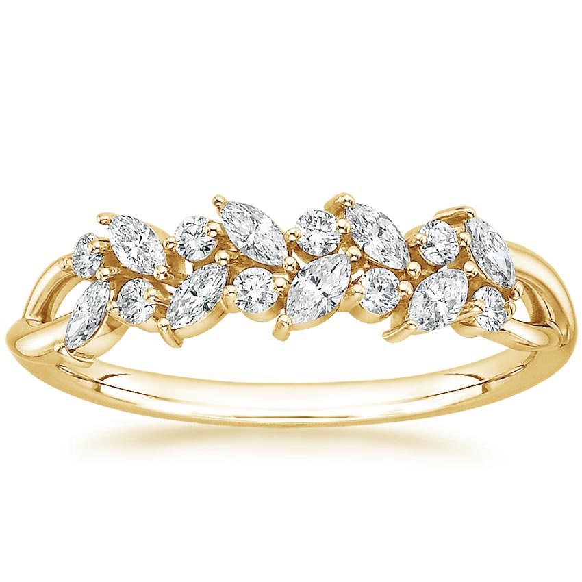 Yellow Gold Nature Diamond Leaves Ring