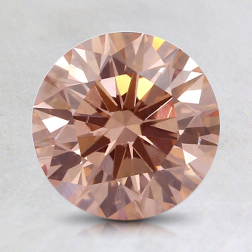 1.54 Ct. Fancy Orangy Pink Round Lab Created Diamond