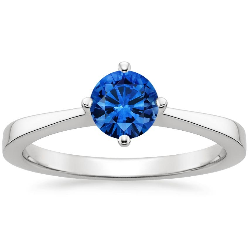 Sapphire True North Ring in Platinum with 5.5mm Round Blue Sapphire