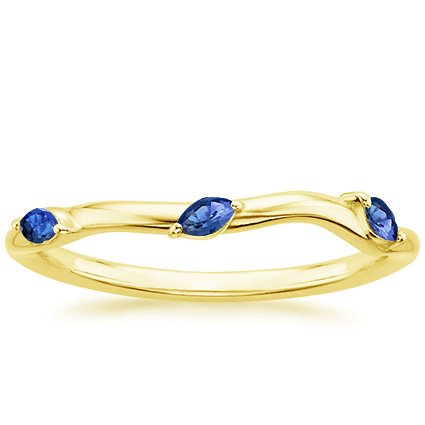 18K Yellow Gold Willow Contoured Ring With Sapphire Accents, top view