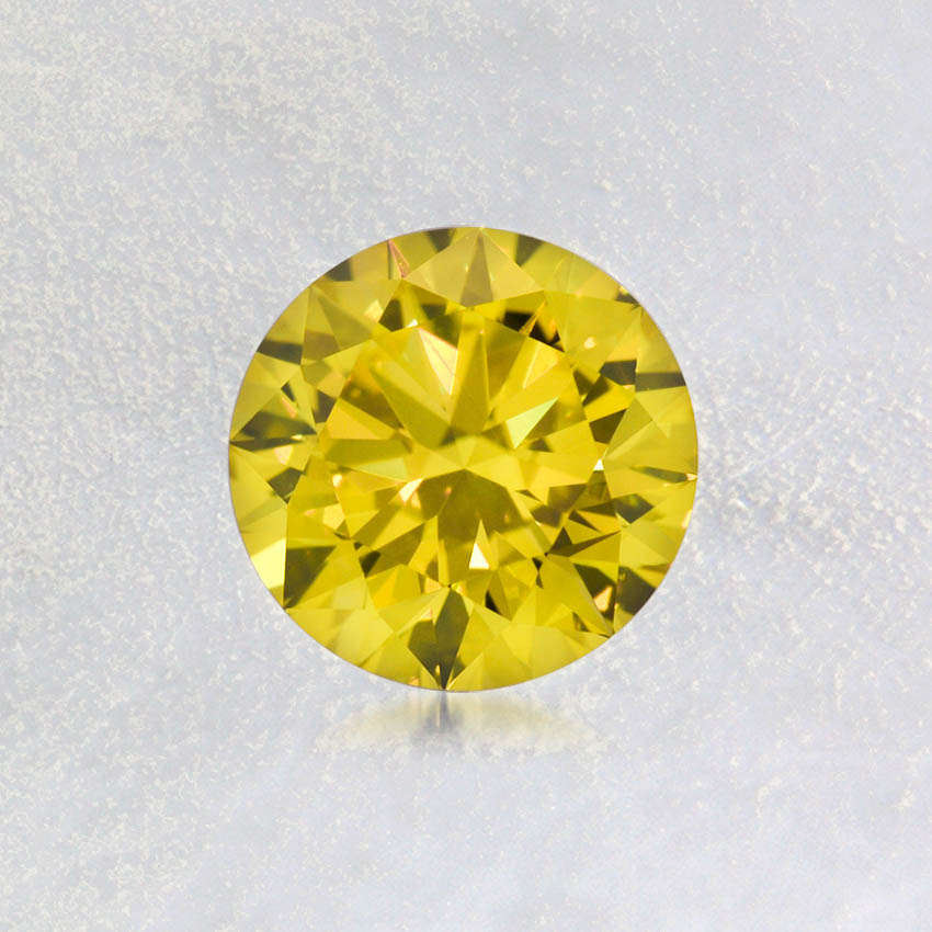 1.52 ct. Lab Created Fancy Vivid Yellow Round Diamond, top view