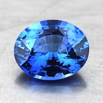 8.2x6.7mm Blue Oval Sapphire, top view