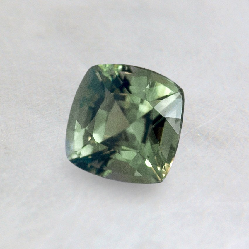 5mm Premium Green Cushion Sapphire, top view