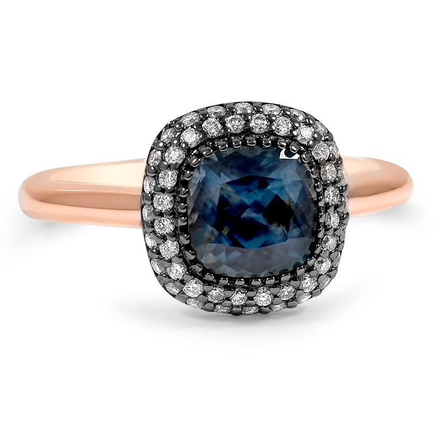 Best Custom Engagement Rings Chicago: Custom Two Tone Sapphire Double Halo