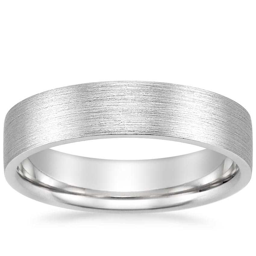 Mens Wedding Band.18k White Gold 5mm Flat Matte Comfort Fit Wedding Ring