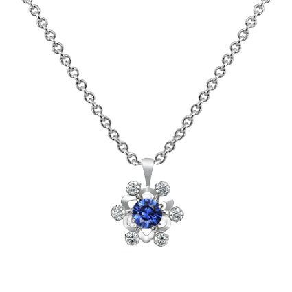 Snowflake Blue Sapphire Pendant in 18K White Gold