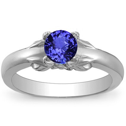 18K White Gold Sapphire Bouquet Ring, top view