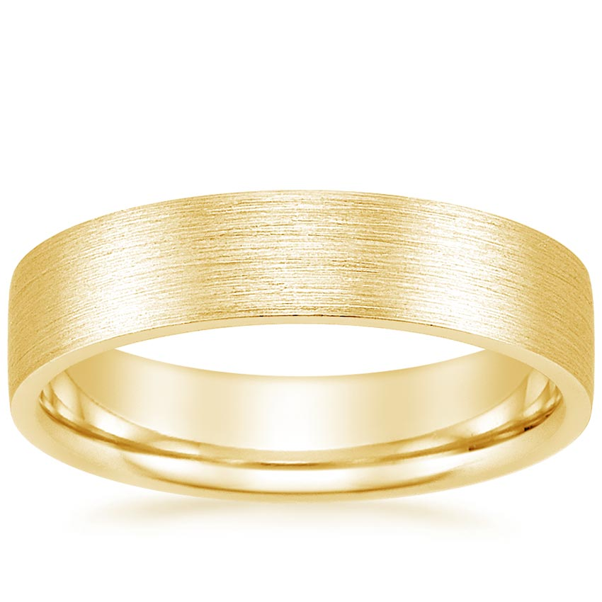 Yellow Gold 5mm Flat Matte Comfort Fit Wedding Ring