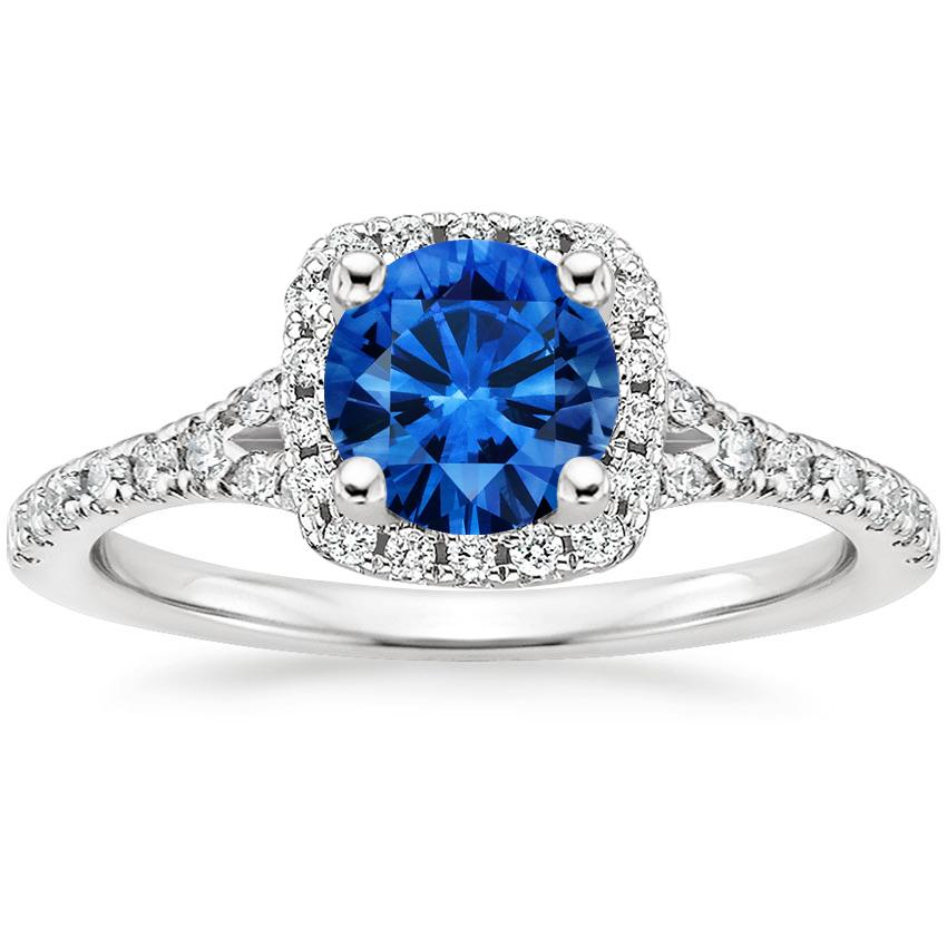 Sapphire Joy Diamond Ring in Platinum with 6mm Round Blue Sapphire