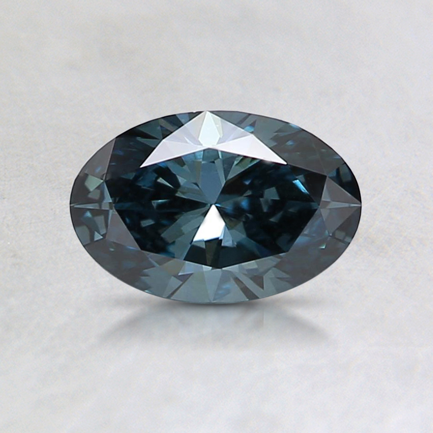 0.55 Ct. Fancy Dark Greenish Blue Oval Lab Created Diamond